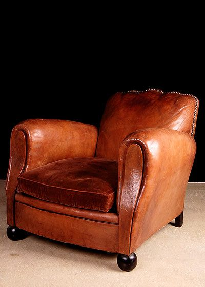 "French Vintage ""Scalloped Back"" Leather Club Chair"
