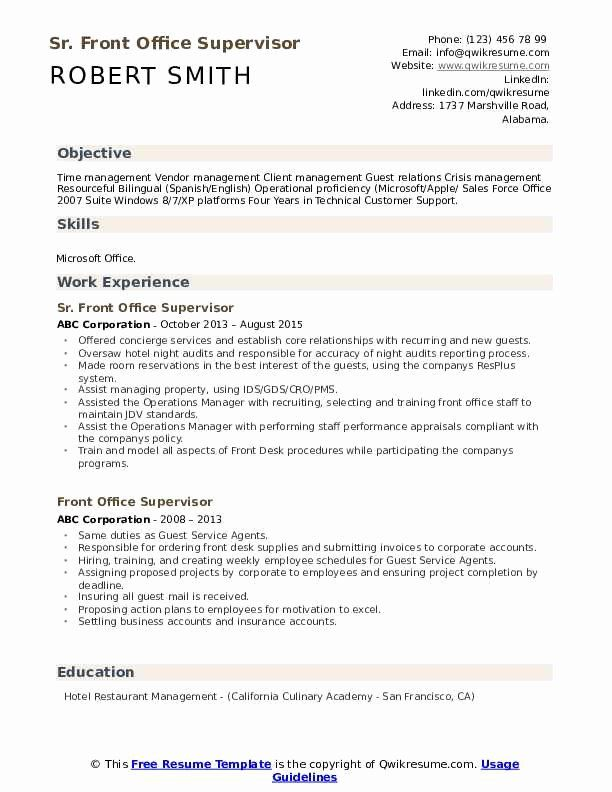 Front Office Manager Resume Best Of Front Fice Supervisor Resume Samples In 2020 Job Resume Samples Esthetician Resume Office Manager Resume