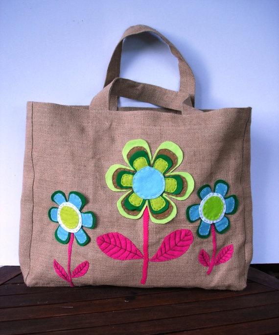 Beach tote summer bag  Eco friendly  Jute tote handbag by Apopsis