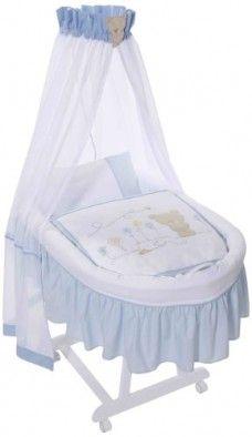 Easy-Baby-191-41-Cuna-con-dosel-colchn-ruedas-y-accesorios-diseo-de-oso-color-azul-0