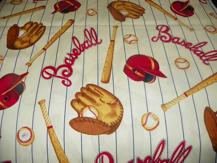 vintage baseball fabric | Vintage look Baseball Fabric for a Little Boy Perfect for Pillows Home ...