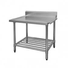 FED WBBD7-2400R Right Outlet Table With POT SHELF - Dishwasher Bench - Kitchen & Catering Equipment