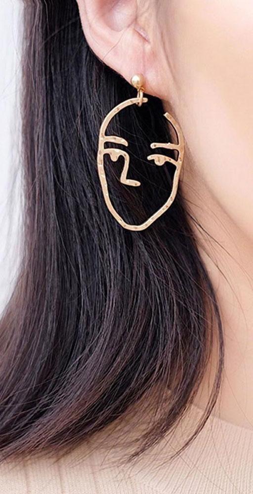 7ed70d715 Abstract Artsy Ear Piercing Ideas - Hammered Metal Artistic Modern Portrait  Face Dangle Earrings - www.MyBodiArt.com