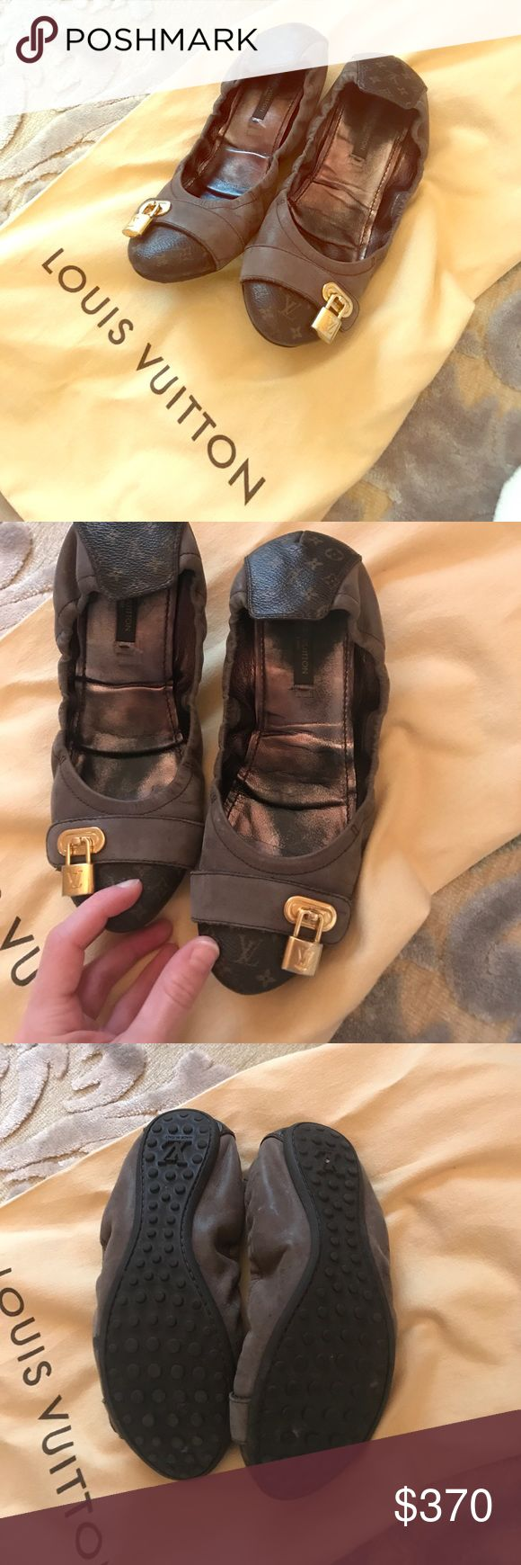 Louis Vuitton ballerina shoes Used authentic Louis Vuitton ballerina shoes brown with a gold lock come as seen in pics does not come with box or receipt Taking reaonable prices Louis Vuitton Shoes Flats & Loafers