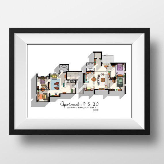 Friends Tv Show Apartment Floor Plan Friends Tv Show Layout Etsy Amis De Tv Plan D Appartement Layout