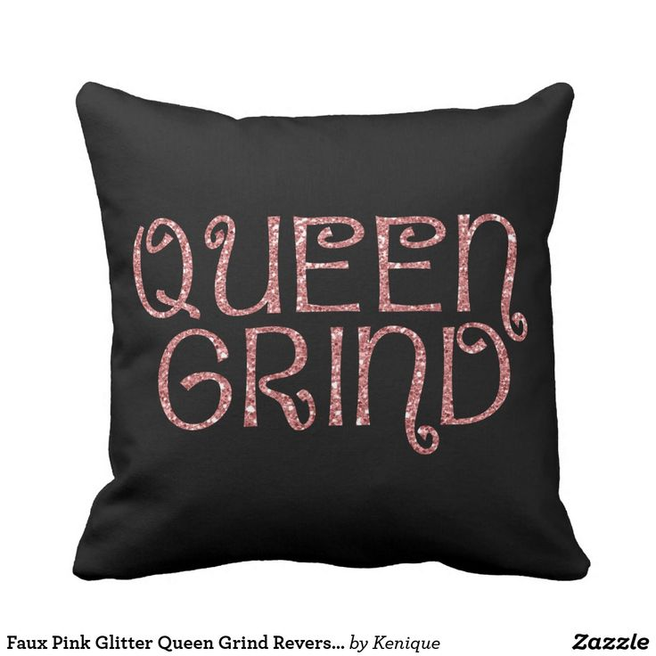 Faux Pink Glitter Queen Grind Reversible Throw Pillow