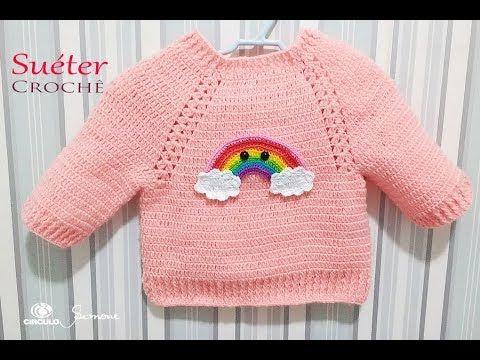 Suéter de Crochê para bebê passo a passo Professora Simone Eleotério - YouTube