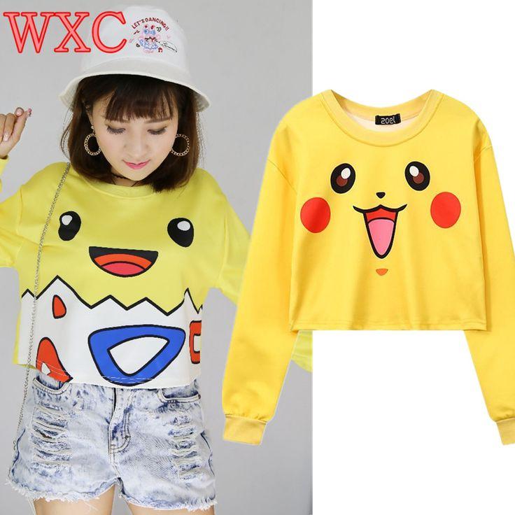 Pikachu Hoodies Harajuku Anime Tops Tee Casual Long Sleeve Tee Top Cute Charmander Pullovers Bulbasaur Squirtle WXC #Affiliate