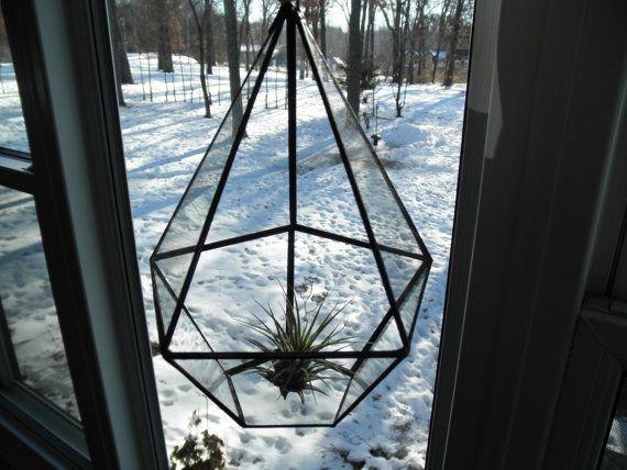 Hanging Glass Terrarium  Pentagon by SandhillShores on Etsy, $43.00