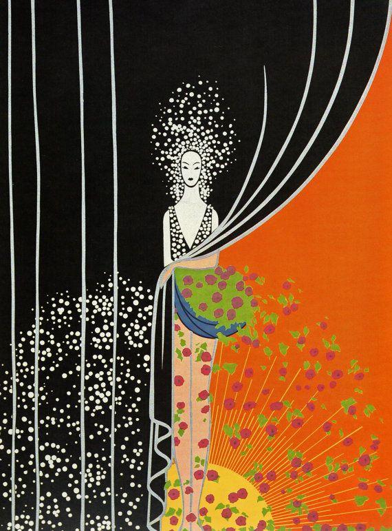 """Chique originele Vintage ERTE ART Deco Print """"PRINTEMPS lente"""" mode boek plaat"""