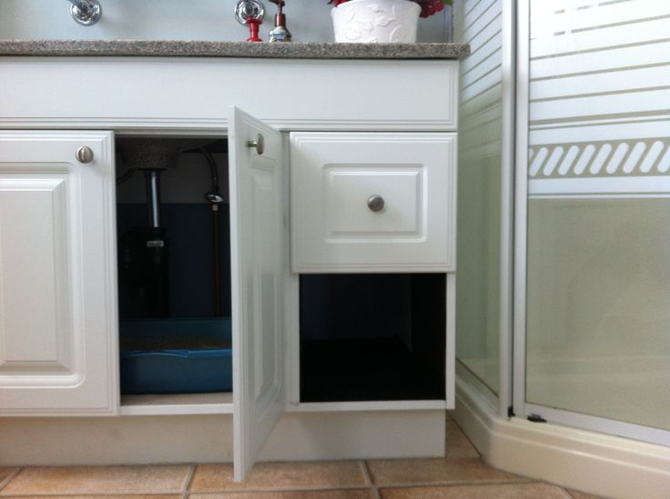 Hidden Litter Box Take Out Drawer On One Side Of Cabinet