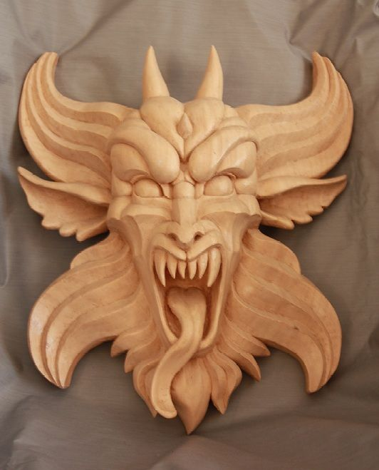 Wood carved gargoyle by mouser inspiration