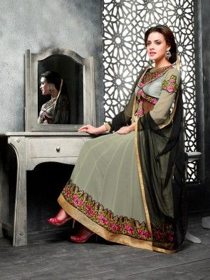 Grey Georgette Anarkali Suit with Embroidery Work