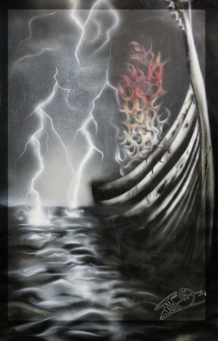 Fire Thunder Waves Ship Wiking AirBrush Drawing Tattoo Design Side Manavgat Antalya Royal Tattoo Studio Graffiti Alanya www.NoktaArt.cok İnstagram: Noktankyra