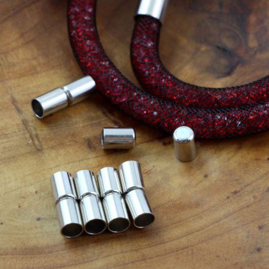 Zapięcie magnetyczne do wklejania srebrne 5mm