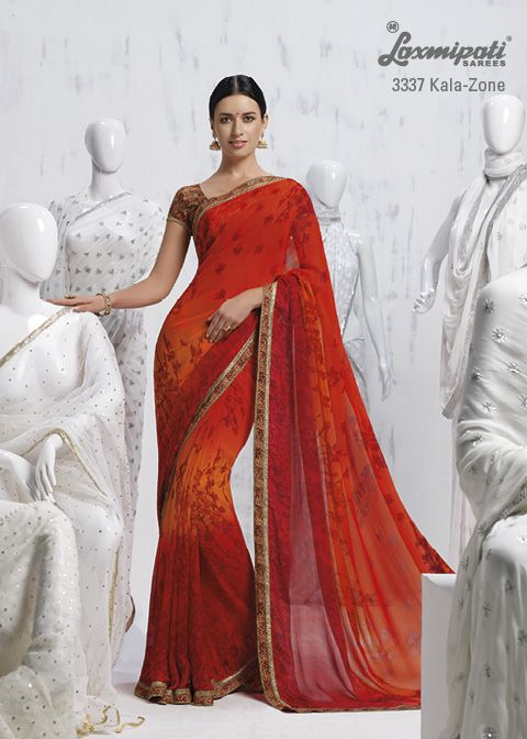 You stand out from the crowd with this marvelous orange georgette saree.