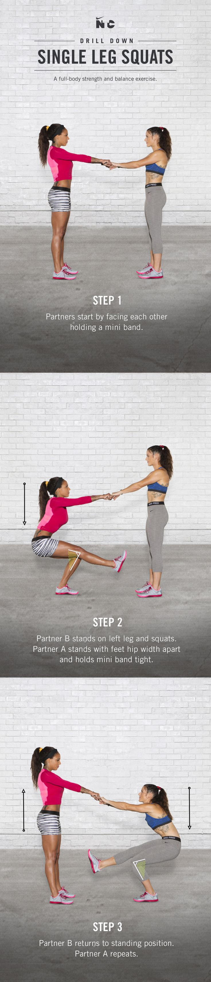 Challenge your strength and balance with Single Leg Squats in Sydney Leroux and Ali Krieger's Dynamic Duo partner workout on Nike+ Training Club.