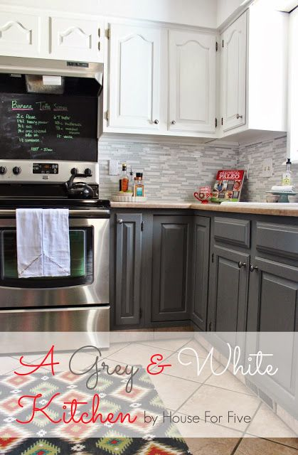 A gray and white kitchen. Cabinets (upper) Swiss Coffee and (lower) Ocean Storm --- both Valspar, Lowes. Lovely.