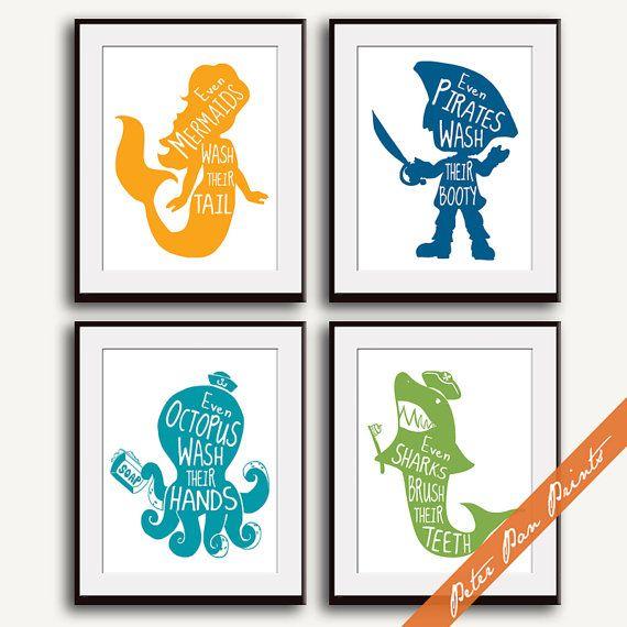 Unisex Kids Funny Bathroom A Set of 4 Art Print by PeterPanPrints