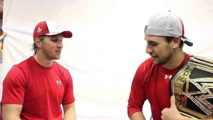 Justin Abdelkader & Brendan Smith thumb wrestle for the WWE belt