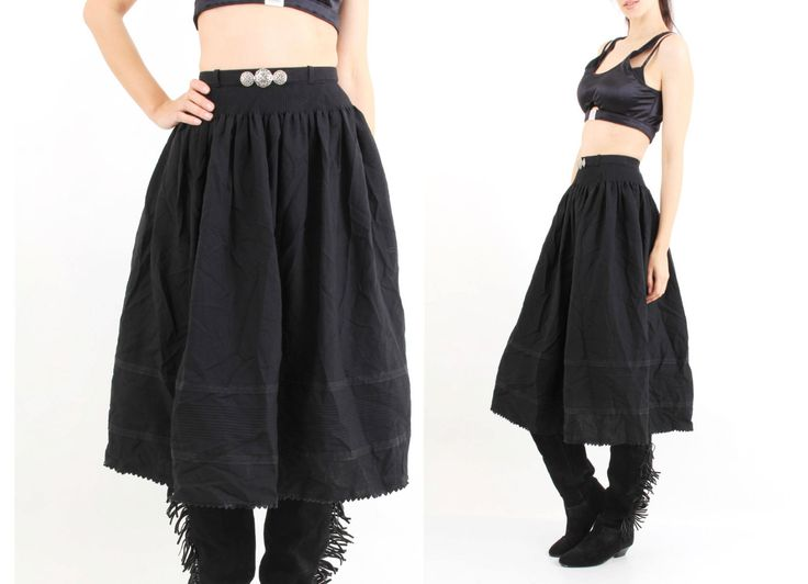 Vintage Wenger Trachten Dirndl Black Embroidered Skirt Size S by Ramaci on Etsy