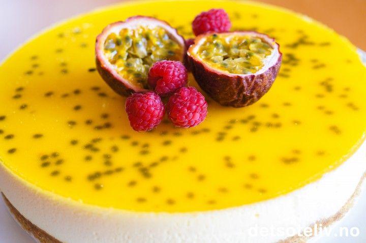 Ostekake med pasjonsfrukt   Det søte liv