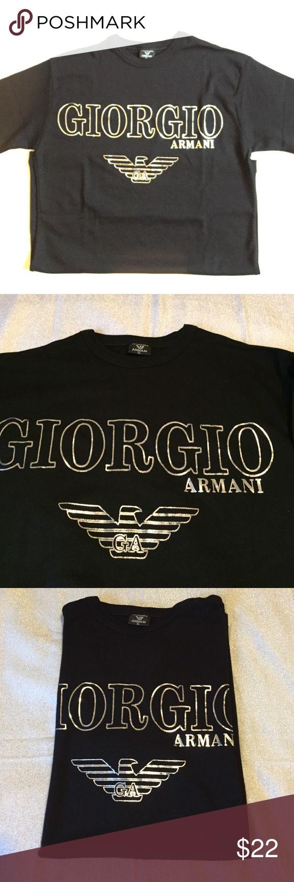 Giorgio Armani T shirt NWOT Giorgio Armani black T shirt  with silver 100% cotton made in Turkey size xl but better fits M-L Giorgio Armani Shirts Tees - Short Sleeve