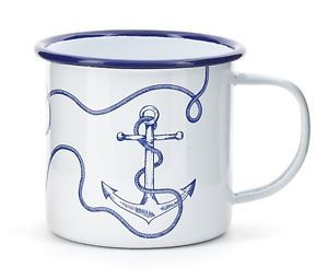 Kikkerland Nautical Anchor White Blue Enamel Mug Camping Tea ...