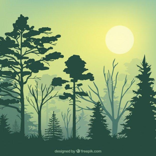 Silhuetas floresta verde Vetor grátis