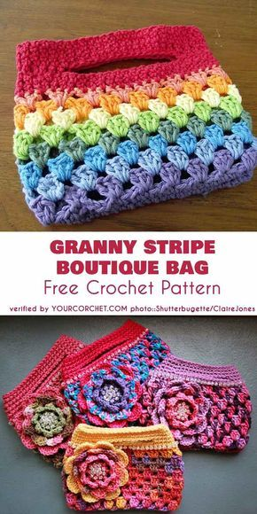 Granny Stripe Boutique Bag Free Crochet PatternStacy Schmidt