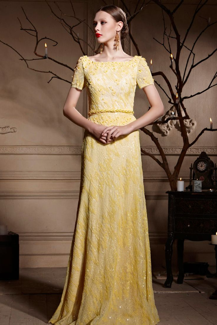 Modern square neckline beading with belt evening dress luxury ready
