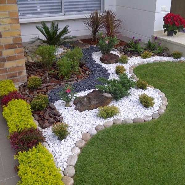 40 Inspiring Front Yard Rock Garden Landscaping Id - Amenagement Jardin Recup Small Front Yard Landscaping, Stone Landscaping, Front Yard Design, Landscaping With Rocks, Backyard Landscaping, Landscaping Ideas, Southern Landscaping, Small Yard Design, Natural Landscaping