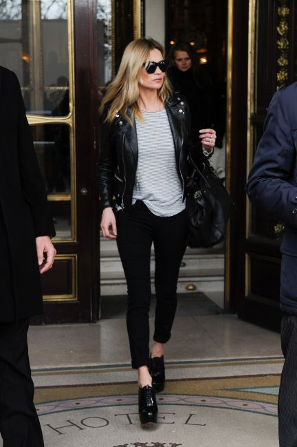 Kate Moss in a black leather motorcycle jacket + striped tee + black skinny jeans + black lace-up ankle boots