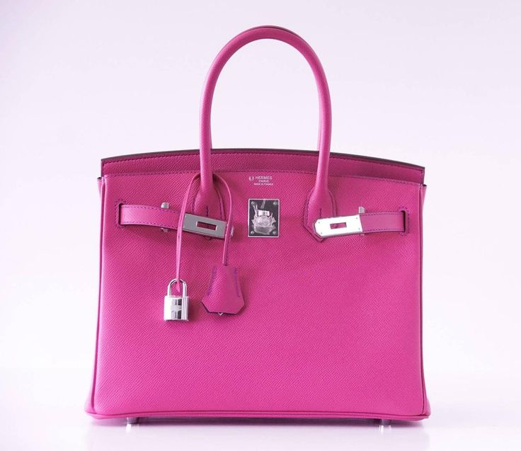 HERMES BIRKIN 30 Bag Horseshoe Rare Pink Rose Shocking / Blue Paon Palladium | 1stdibs.com