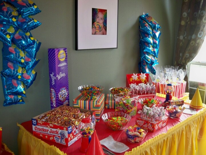 DIY circus candy buffet, cotton candy, pixie sticks, cracker jacks, gumballs, suckers, mike and ikes, skittles, and m's