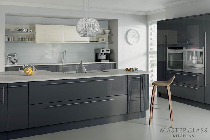 The dark grey of the graphite base units are lifted by the inclusion of a dash of ivory and light coloured worktops in this beautiful looking modern kitchen from Masterclass. Description from thekitchenlink.co.uk. I searched for this on bing.com/images