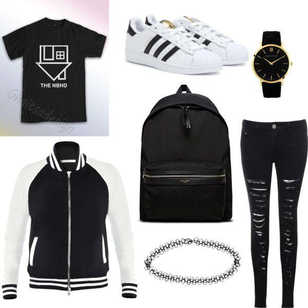 Untitled #6 by raczreka on Polyvore featuring polyvore fashion style Glamorous adidas Yves Saint Laurent Larsson & Jennings Boohoo