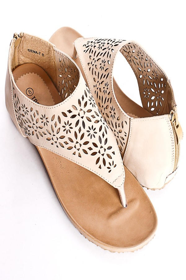BEIGE NUBUCK CUTOUTS THONG SHIELD SANDALS