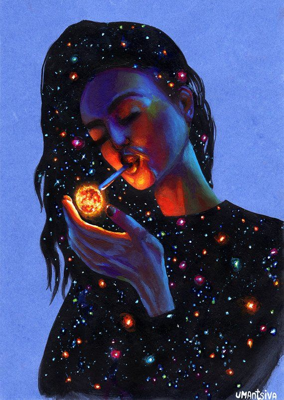 Giclee print on canvas hand-embellished with acrylic paint, girl smoking, galaxy…