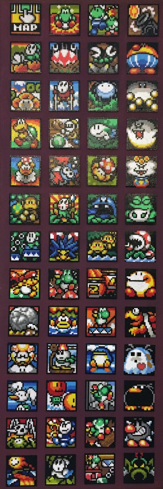 Super Mario World II - Joshi´s Island Map Icons. 29952 Mini Artkal and Perler Beads.