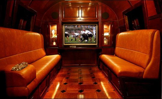 The inside of a mobile cigar lounge.