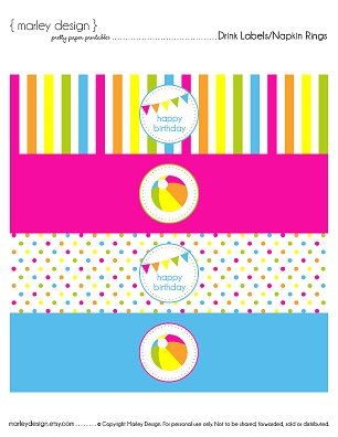 Pool Party Birthday Party Printable Drink Labels Water Bottle Wrappers Napkin Rings Girls Splash Beach Ocean Party Digital Instant Download by MarleyDesign on Etsy https://www.etsy.com/listing/193662796/pool-party-birthday-party-printable