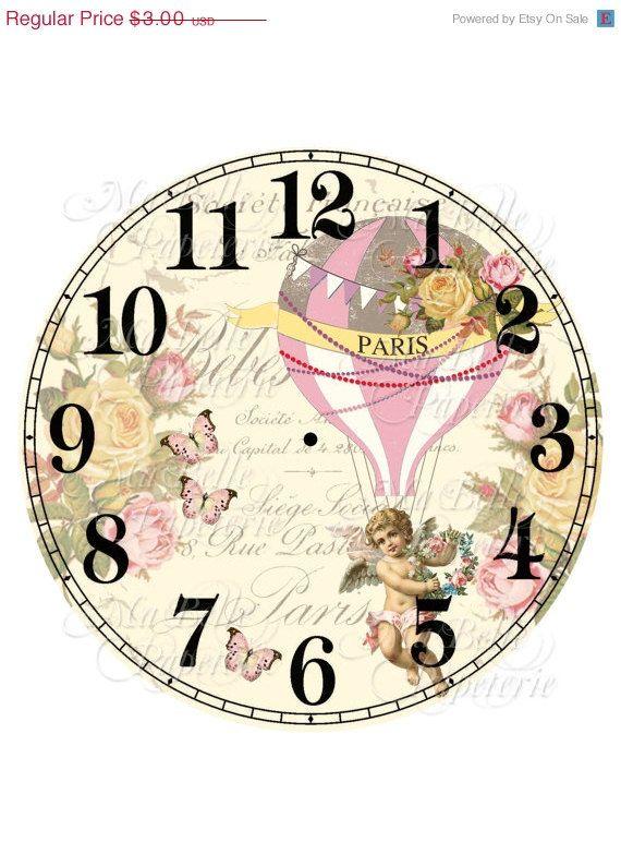 La mitad Precio de Venta Shabby Chic Reloj-DIY reloj francesa Inspiración aire globo de aire caliente, rosas y Querubin