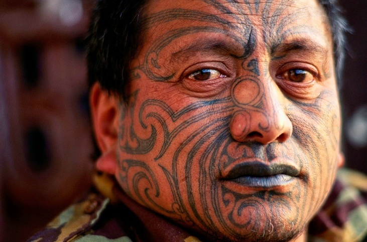 Maori and Political activist Tame Iti has a traditional moko tattooed onto his face.