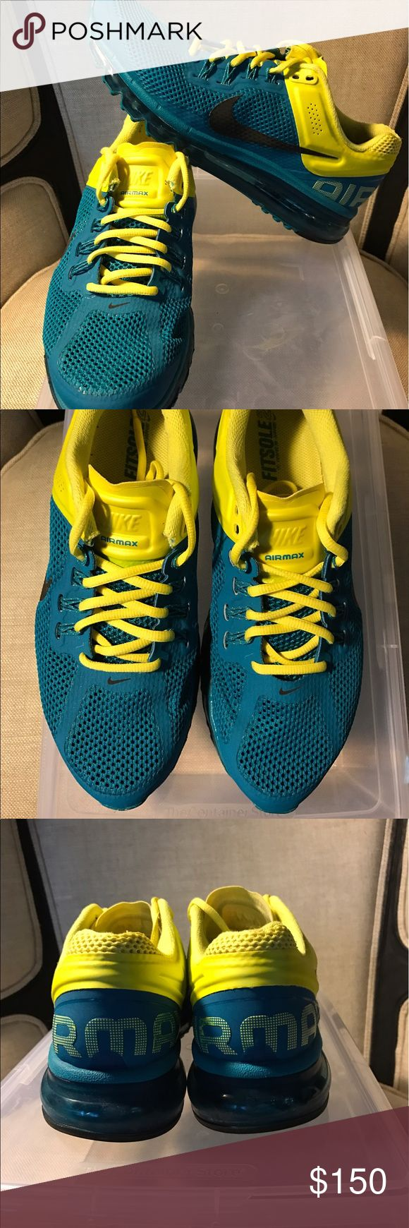 Nike Air Max 2013 • Tropical Teal & Sonic Yellow GREAT condition • See photos • Light wear • No stains or rips. Purchased from Dicks Sporting Goods directly. Limited color - impossible to find • Great for an Air Max Ltd. Collector • Smoke and Pet Free Home • Women's 9.5 Nike Shoes Sneakers