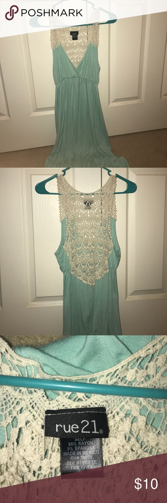 Teal Maxi dress, with a lace back. Teal Maxi dress, with a lace back. I have never worn it, I am 5'8 and unfortunately it is too short for me! Rue21 Dresses Maxi