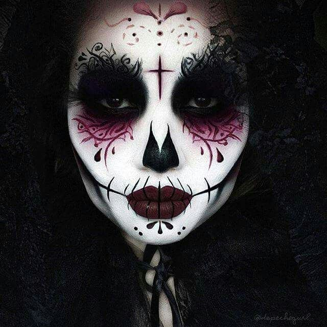 Beautiful Day of the Dead makeup from the insanely talented @depechegurl! www.deadchicksarecool.com #gorgeous #alternative #altgirls #alternativegirls #creepygirls #creepgirlsdoitbetter #makeup #makeupartist #makeupart #bodyart #bodyartist #art #skeletal #skull #diadelosmuertos #dayofthedead #dayofthedeadmakeup #halloween #halloweenmakeup #darkmakeup #beauty #deadchick #deadchicksarecool