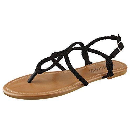 Oferta: 14.29€. Comprar Ofertas de SANDALUP - Sandalia correas trenzadas para mujer, color Negro, talla 39 barato. ¡Mira las ofertas!