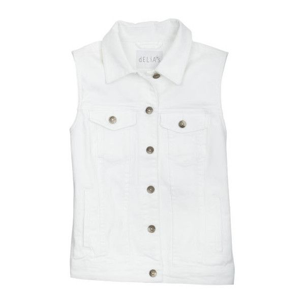 White Denim Vest ($40) ❤ liked on Polyvore featuring outerwear, vests, tops, jackets, shirts, jackets & outerwear, white denim vest, vest waistcoat, white waistcoat and white vest