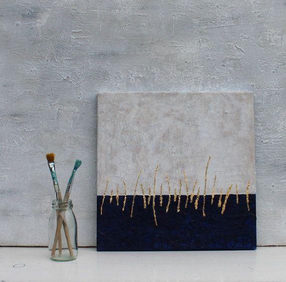 Bild Abstrakt Blattgold auf Leinwand 30x30x15 cm von AtelierMaltopf
